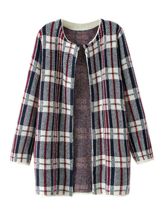shop Long Sleeve Plaid Pattern Cardigan - CHECKED ONE SIZE(FIT SIZE XS TO M)