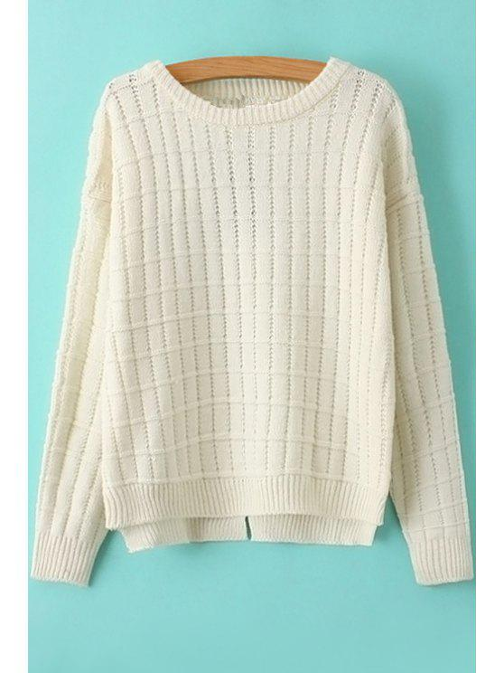 shops Solid Color Checked Sweater - WHITE ONE SIZE(FIT SIZE XS TO M)