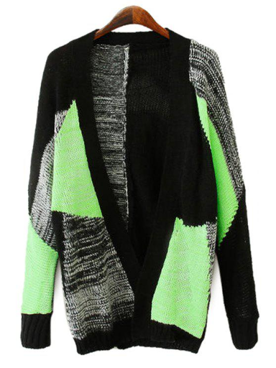 fashion Long Sleeve Color Block Cardigan - COLORMIX S