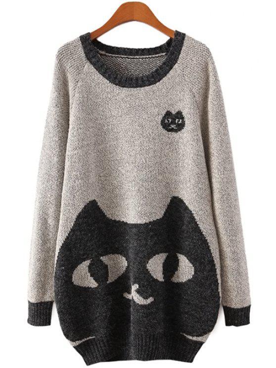 women Long Sleeve Kitten Pattern Sweater - LIGHT GRAY ONE SIZE(FIT SIZE XS TO M)