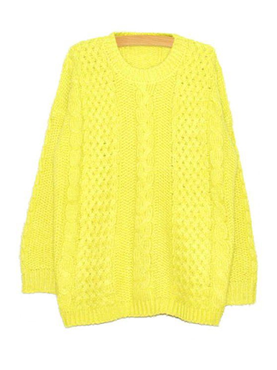 best Long Sleeve Cable-Knit Sweater - YELLOW ONE SIZE(FIT SIZE XS TO M)