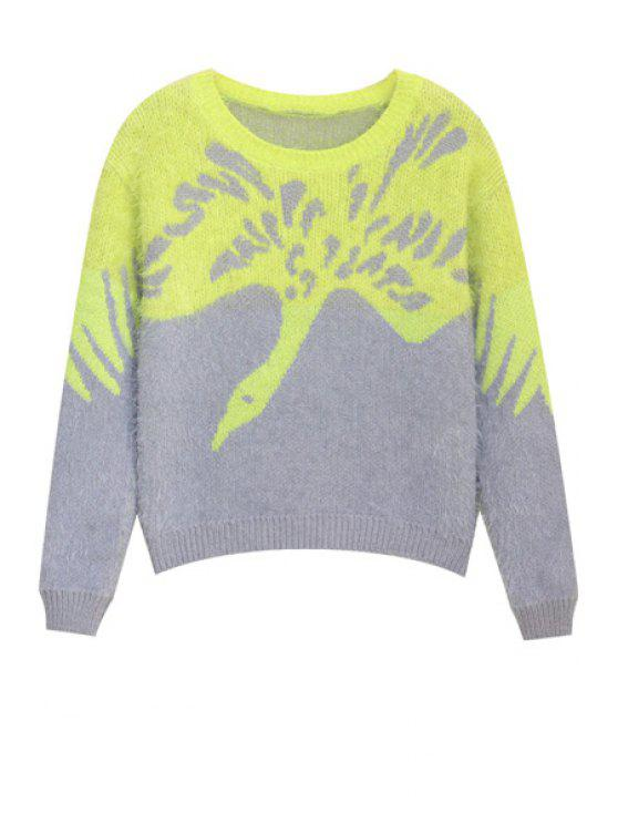 shops Crane Pattern Mohair Sweater - COLORMIX ONE SIZE(FIT SIZE XS TO M)