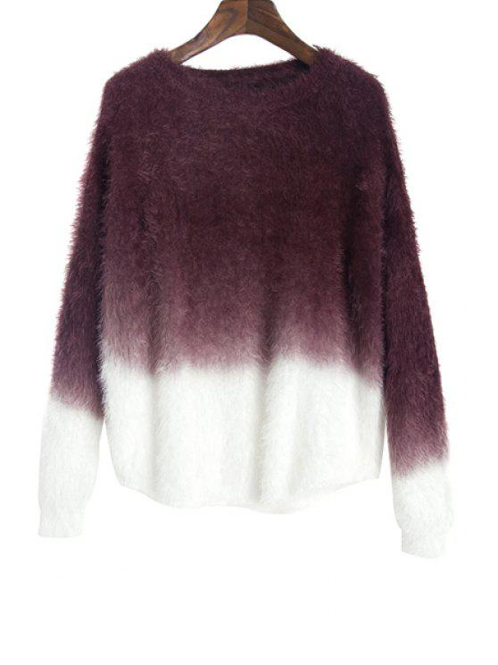 unique Mohair Color Block Sweater - WINE RED ONE SIZE(FIT SIZE XS TO M)