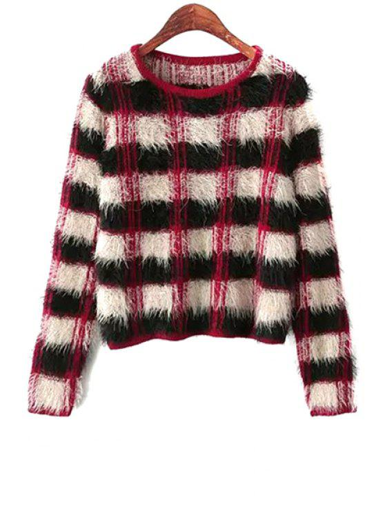 womens Plaid Pattern Mohair Sweater - BLACK ONE SIZE(FIT SIZE XS TO M)