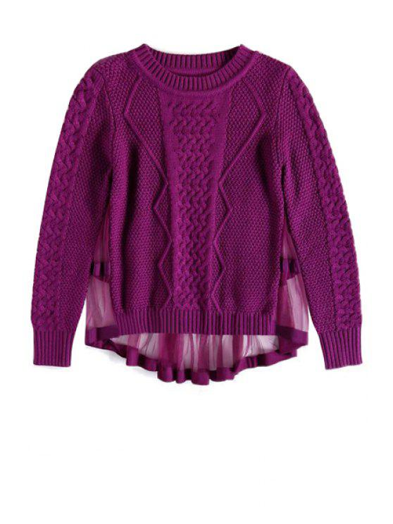 shops Solid Color Voile Splicing Sweater - PURPLE ONE SIZE(FIT SIZE XS TO M)