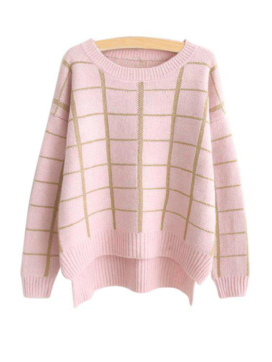 chic Checked High-Low Hem Sweater - PINK ONE SIZE(FIT SIZE XS TO M)