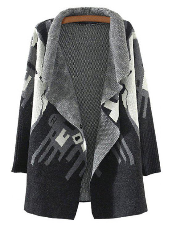 buy Geometric Pattern Turn-Down Collar Cardigan - BLACK ONE SIZE(FIT SIZE XS TO M)