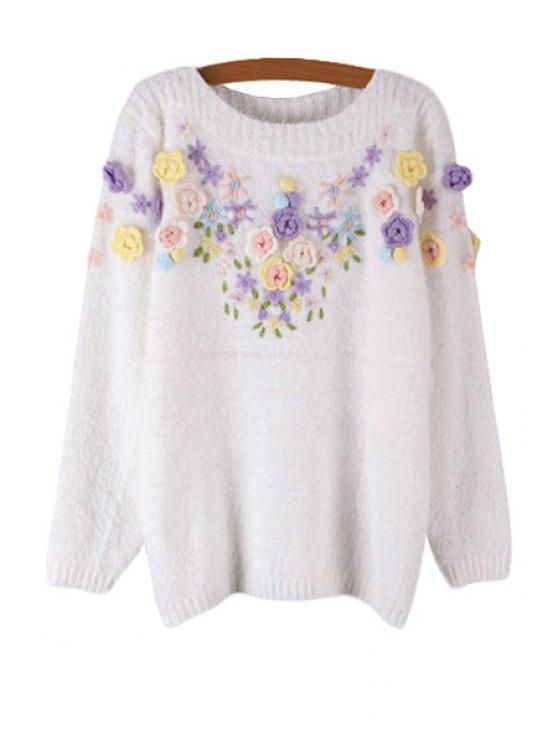 women's Mohair Floral Embroidery Sweater - WHITE ONE SIZE(FIT SIZE XS TO M)