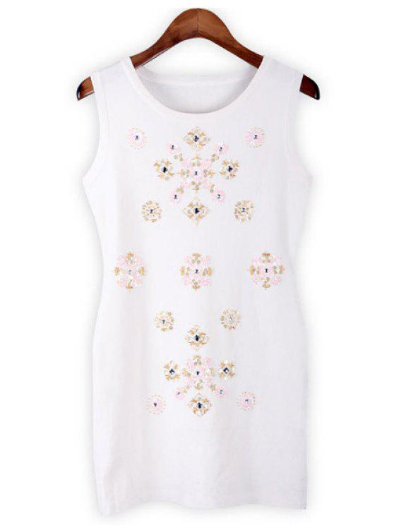 outfit Scoop Collar Sequins Sundress - WHITE ONE SIZE(FIT SIZE XS TO M)