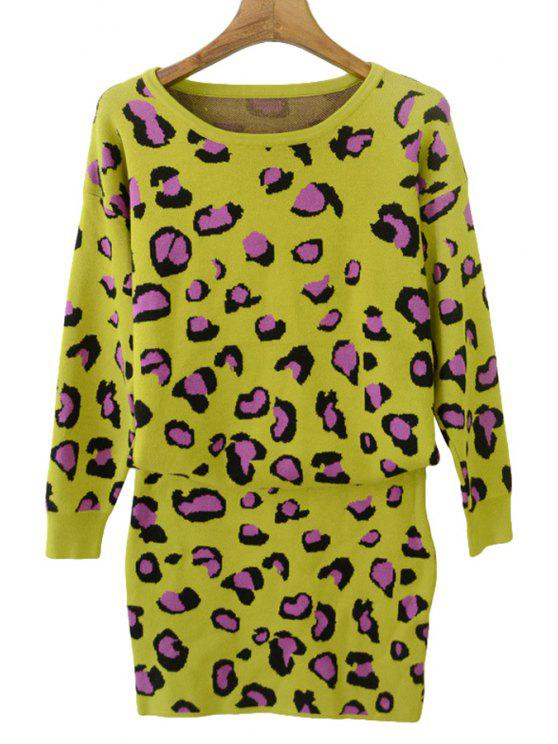 womens Leopard Print Sweater and Skirt Suit - YELLOW ONE SIZE(FIT SIZE XS TO M)