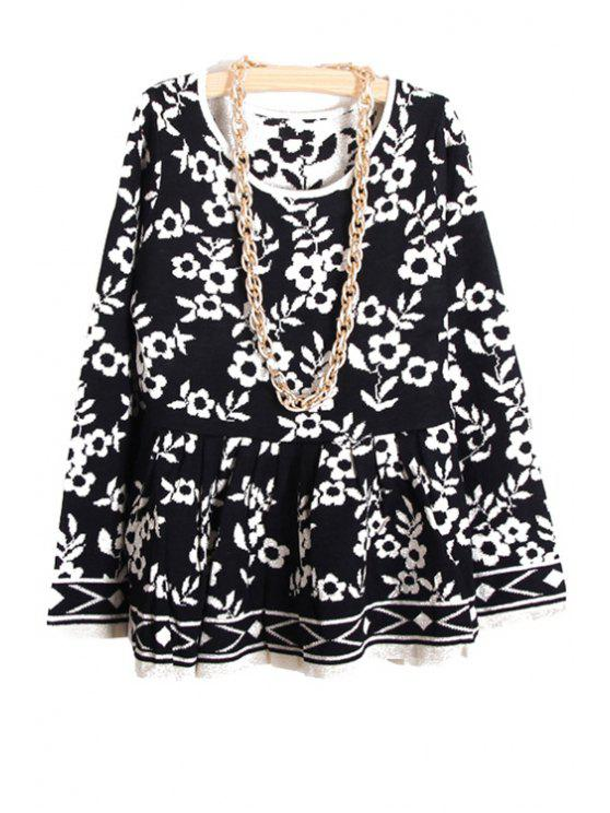 fancy Floral Pattern Ruffles Splicing Sweater - BLACK ONE SIZE(FIT SIZE XS TO M)