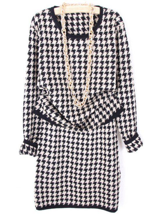 online Houndstooth Sweater and Skirt Suit - APRICOT ONE SIZE(FIT SIZE XS TO M)