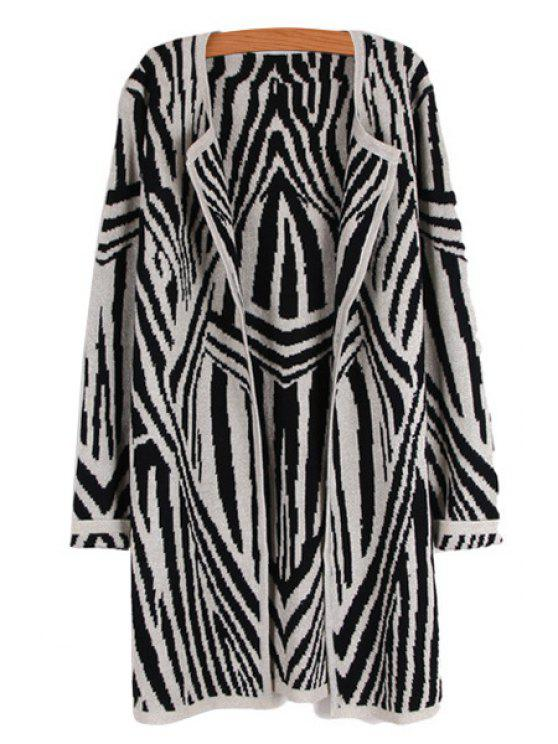 affordable Long Sleeve Striped Pattern Cardigan - WHITE ONE SIZE(FIT SIZE XS TO M)