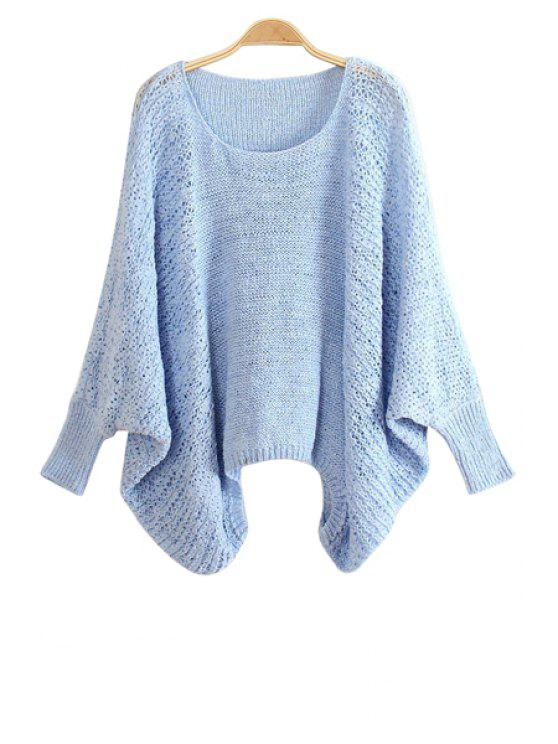 fancy Bat-Wing Sleeve Solid Color Sweater - BLUE ONE SIZE(FIT SIZE XS TO M)