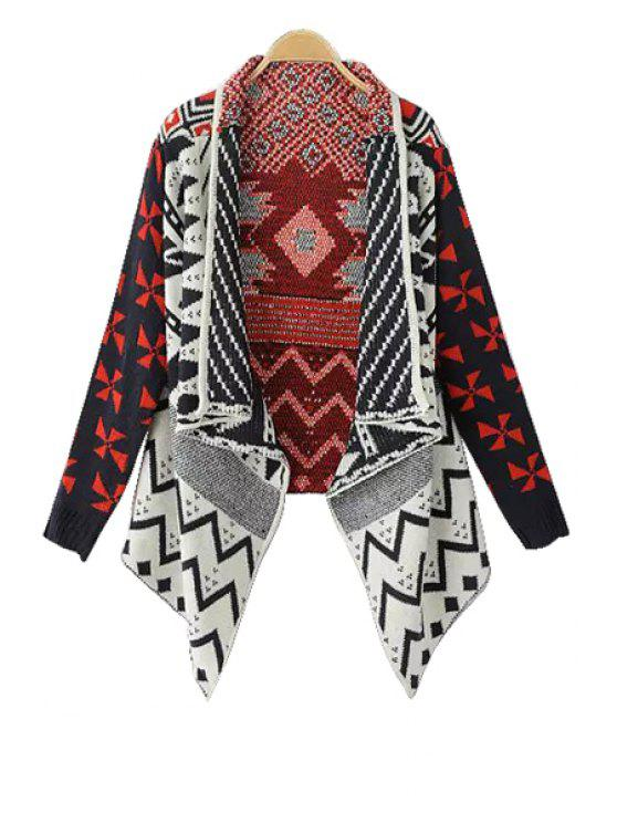 affordable Long Sleeve Geometric Pattern Cardigan - BLACK ONE SIZE(FIT SIZE XS TO M)