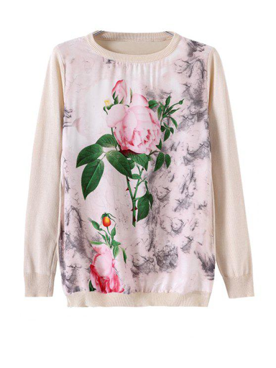 best Flower Print Splicing Knitwear - WARM WHITE LIGHT S