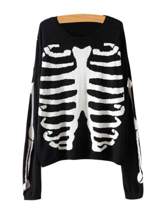 hot Skeleton Pattern Long Sleeve Sweater - BLACK S