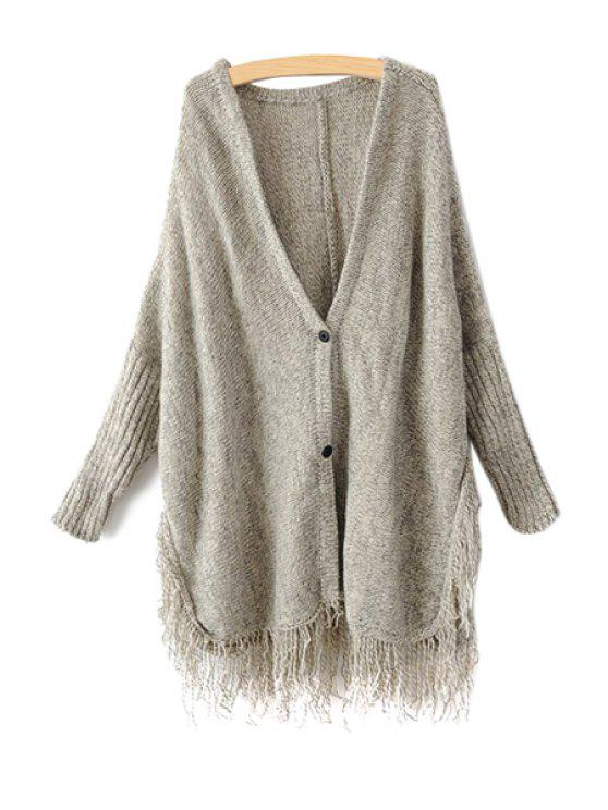 shops Solid Color Fringe Cardigan - GRAY ONE SIZE(FIT SIZE XS TO M)