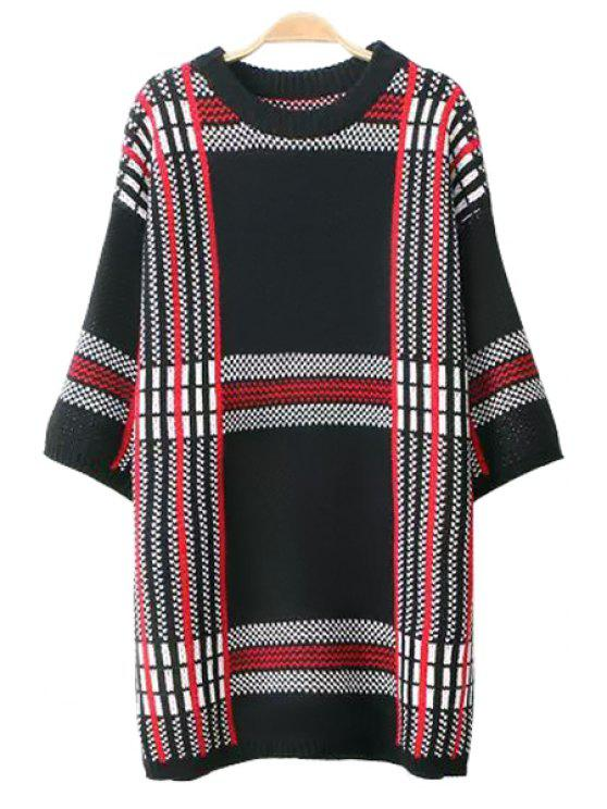 trendy Plaid Pattern 3/4 Sleeve Sweater - CHECKED ONE SIZE(FIT SIZE XS TO M)