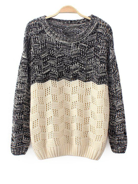 fashion Color Block Long Sleeves Sweater - COLORMIX ONE SIZE(FIT SIZE XS TO M)