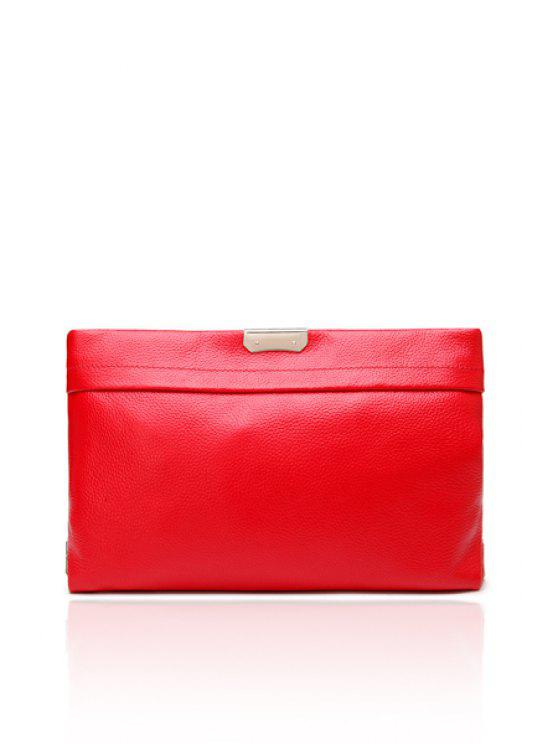 chic Solid Color Metallic Zipper Clutch Bag - RED