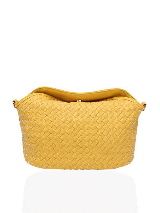 ladies Weaving PU Leather Hasp Shoulder Bag - YELLOW