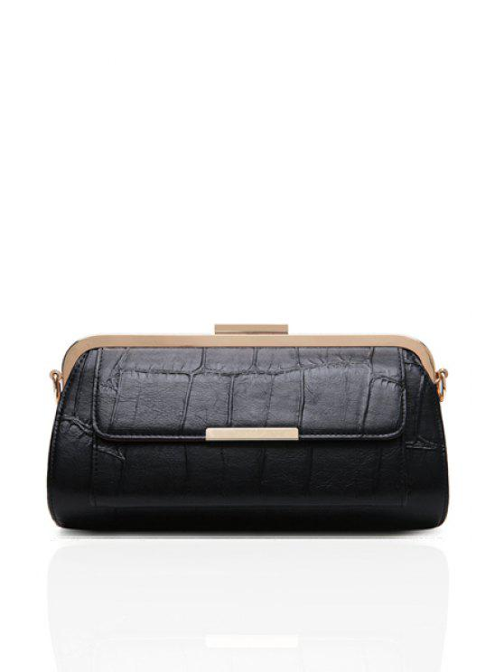 affordable Solid Color Metallic Chain Evening Bag - BLACK