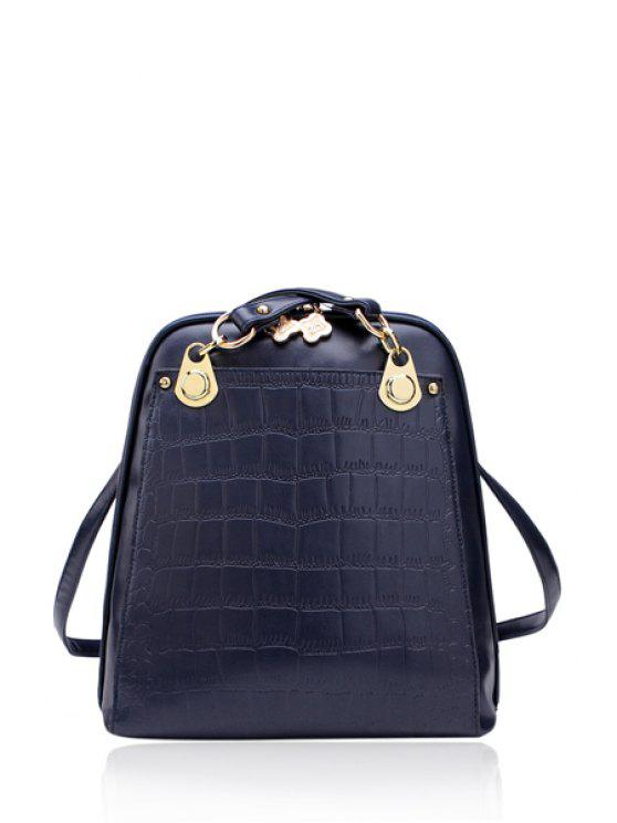 best Metallic Zipper Stone Print Satchel - BLUE