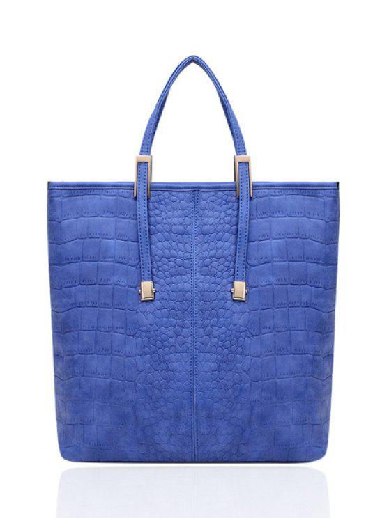 ladies Metallic Stone Print Suede Tote Bag - LIGHT BLUE