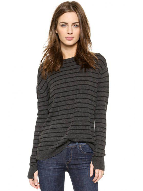 chic Striped Backless Sweater - DEEP GRAY XS