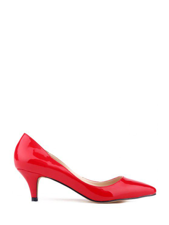 shops Patent Leather Pointed Toe Solid Color Pumps - RED 35