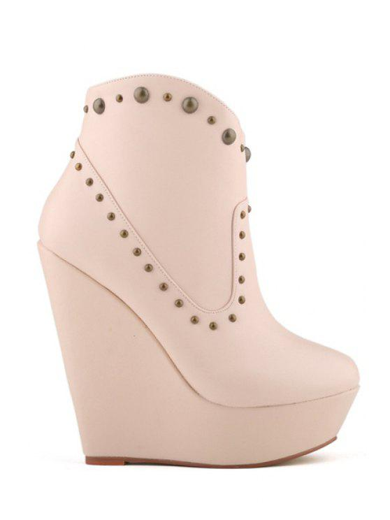 shops Rivets Wedge Heel Solid Color Boots - APRICOT 35