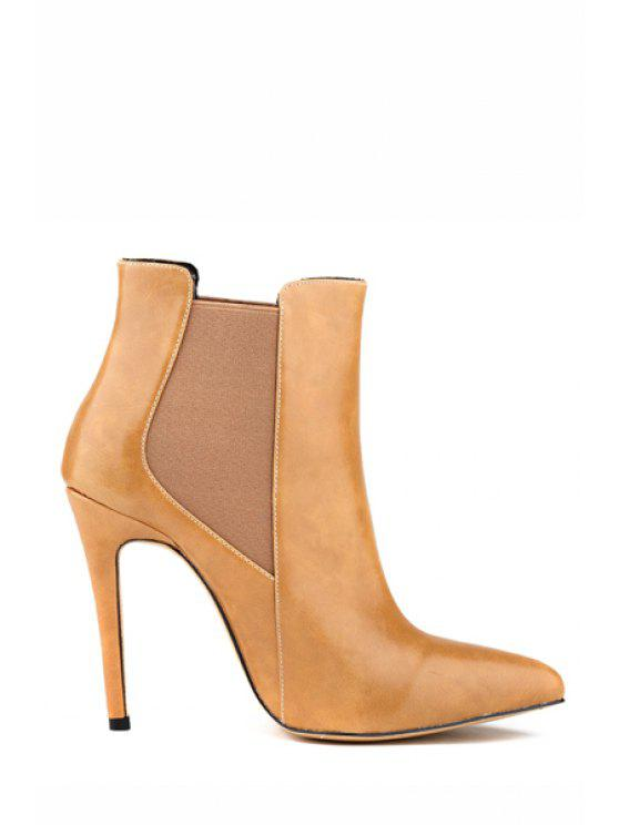 fancy Elastic Stiletto Heel Pointed Toe Boots - APRICOT 35