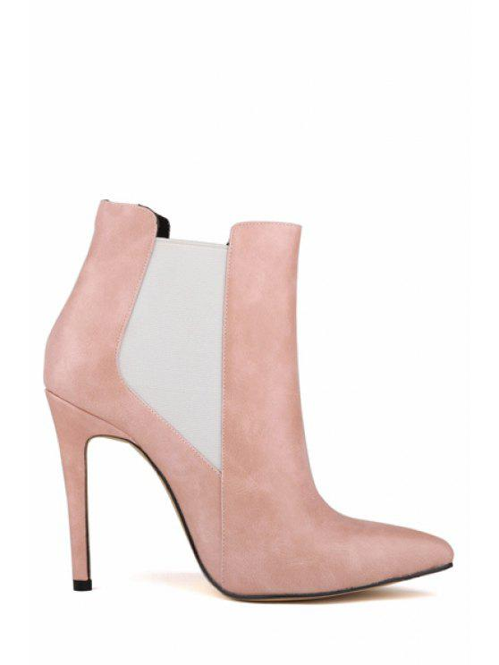 women's Elastic Stiletto Heel Pointed Toe Boots - PINK 37