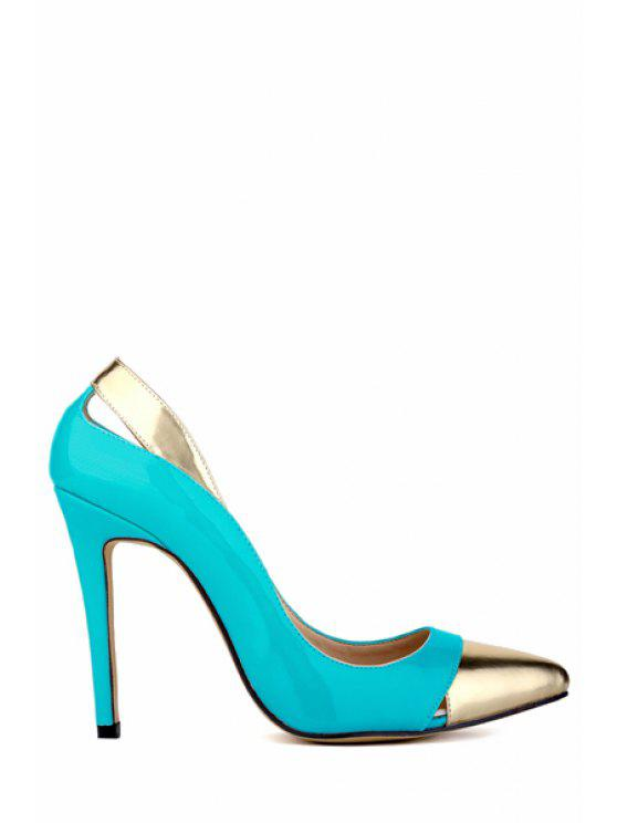 outfits Hollow Out Color Block Pointed Toe Pumps - BLUE 38
