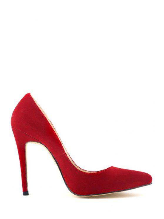 outfit Sexy High Heel Suede Pointed Toe Pumps - RED 36