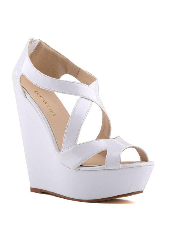 fc9c6e2c66819 2018 Criss-Cross Patent Leather Wedge Heel Sandals In WHITE 41