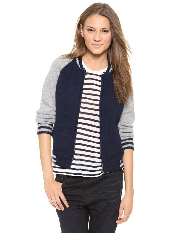 best Color Block Knit Stand Collar Jacket - NAVY BLUE XS