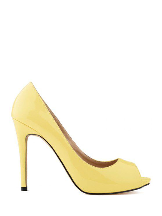 90a3841846e 38% OFF  2019 Sexy High Heel Patent Leather Shoes In YELLOW
