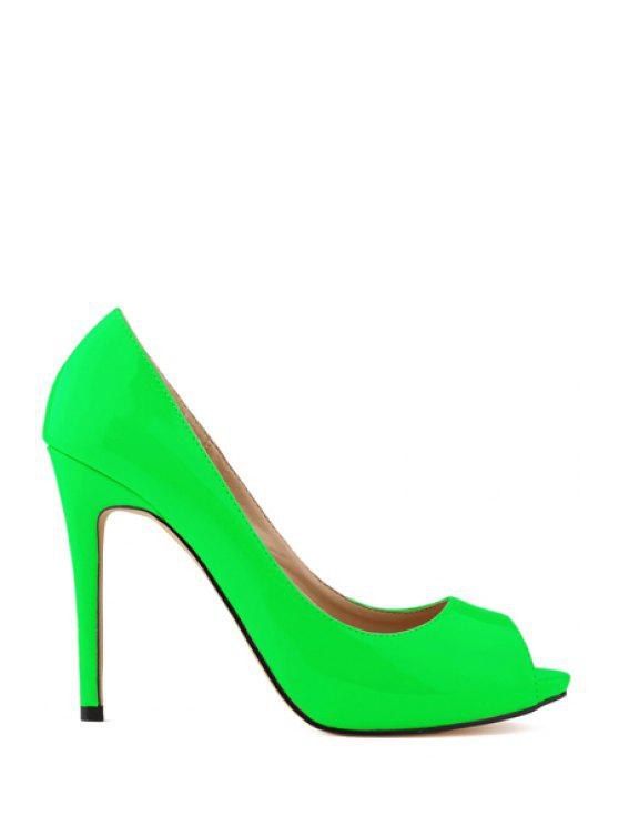 0c5043732da 38% OFF  2019 Sexy High Heel Patent Leather Shoes In GREEN 41