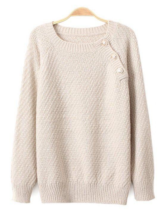 sale Solid Color Button Sweater - OFF-WHITE ONE SIZE(FIT SIZE XS TO M)
