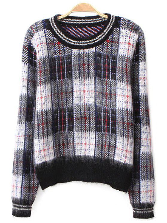 fashion Long Sleeve Plaid Pattern Sweater - CHECKED ONE SIZE(FIT SIZE XS TO M)