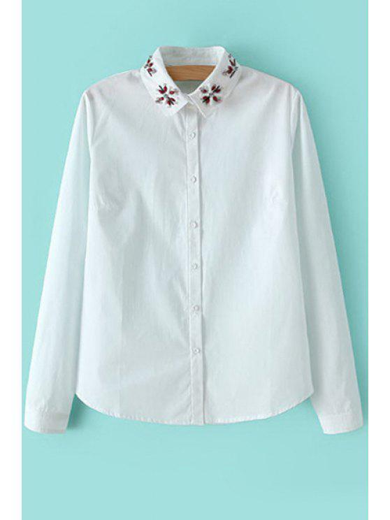lady Beaded White Long Sleeve Shirt - WHITE S