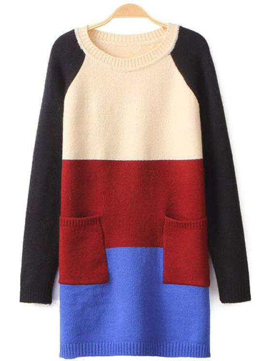 chic Color Block Double Pocket Sweater - PINK ONE SIZE(FIT SIZE XS TO M)