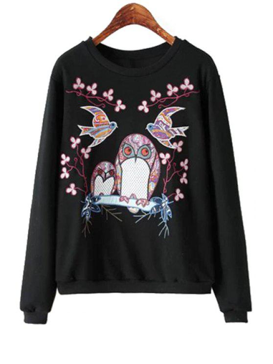 unique Owl Embroidery Long Sleeve Sweatshirt - BLACK S