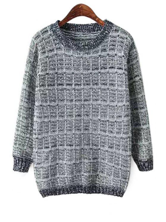 new Checked Pattern Long Sleeve Sweater - GRAY ONE SIZE(FIT SIZE XS TO M)