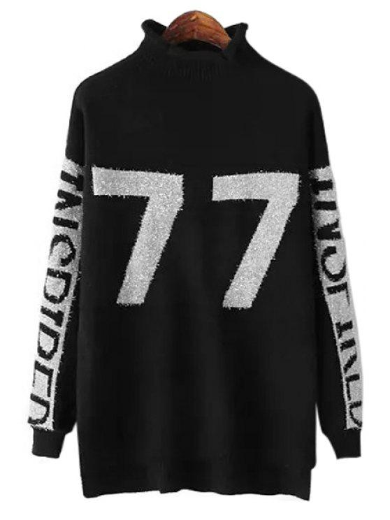 shop Number Pattern Turtle Neck Sweater - BLACK ONE SIZE(FIT SIZE XS TO M)