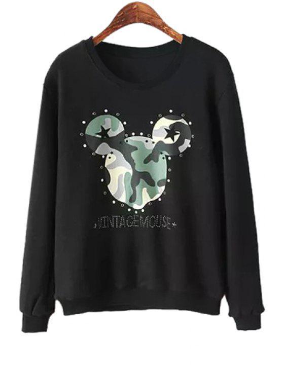 women Scoop Collar Cartoon Print Sweatshirt - BLACK S