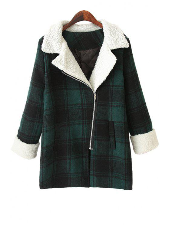 fancy Plaid Lamb Wool Splicing Coat - BLACKISH GREEN ONE SIZE(FIT SIZE XS TO M)