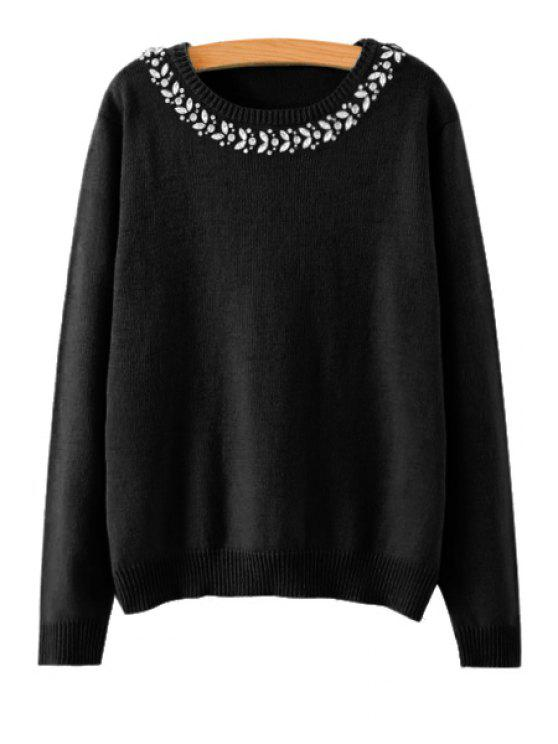 latest Rhinestone Long Sleeve Sweater - BLACK M